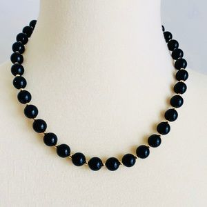 Vintage Monet Necklace Black and Gold Beads
